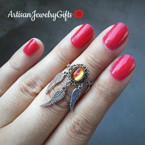 Rainbow Dream Catcher Ring Silver Knuckle Ring